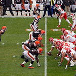 The Kansas City Chiefs offense, right, waits for the snap against the Cleveland Browns in the second quarter of an NFL football game Sunday, Dec. 9, 2012, in Cleveland. (AP Photo/Tony Dejak)
