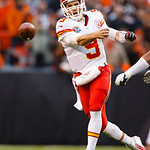 Kansas City Chiefs quarterback Brady Quinn (9) passes the ball against the Cleveland Browns during an NFL football game in Cleveland, Sunday, Dec. 9, 2012. (AP Photo/Rick Osentoski)