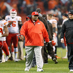 Kansas City Chiefs head coach Romeo Crennel, center walks off the field after a 30-7 loss to the Cleveland Browns in an NFL football game in Cleveland, Sunday, Dec. 9, 2012. (AP Photo/Rick O …