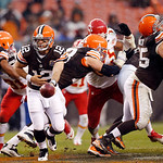 Cleveland Browns quarterback Colt McCoy (12) hands off to tight end Alex Smith in the fourth quarter of a 30-7 win over the Kansas City Chiefs in an NFL football game in Cleveland, Sunday, D …