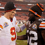 Kansas City Chiefs quarterback Brady Quinn (9) talks with Cleveland Browns linebacker D'Qwell Jackson after the Browns' 30-7 win in an NFL football game Sunday, Dec. 9, 2012, in Cleveland. ( …