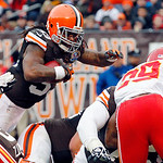 Cleveland Browns running back Trent Richardson dives over the goal line on a 1-yard touchdown run in the third quarter of an NFL football game against the Kansas City Chiefs, Sunday, Dec. 9, …