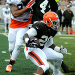 Browns' running back Terrance West attempts to take the ball to the end zone during the Browns' scrimmage game on Aug. 2. KRISTIN BAUER | CHRONICLE