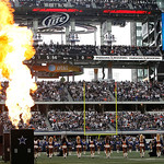 Flames shoot into the air during the Dallas Cowboys player introductions before the start of the first half of an NFL football game  against the Cleveland Browns Sunday, Nov. 18, 2012 in Arl &#8230;