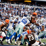 Cleveland Browns running back Trent Richardson (33) is stood up on the goal line by Dallas Cowboys inside linebacker Dan Connor (52) and the Dallas Cowboys defensive line during the second h …