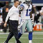 A Dallas Cowboys trainer helps Dallas Cowboys wide receiver Dwayne Harris (17) off the field during the second half of an NFL football game against the Cleveland Browns Sunday, Nov. 18, 2012 &#8230;