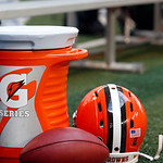 A Cleveland Browns helmet and football sit next to a Gatorade cooler during the first half of an NFL football game against the Dallas Cowboys Sunday, Nov. 18, 2012 in Arlington, Texas. (AP P &#8230;