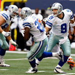 Dallas Cowboys quarterback Tony Romo (9) hands the ball off to Dallas Cowboys running back Felix Jones (28) during the first half of an NFL football game against the Cleveland Browns Sunday, …