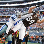 Cleveland Browns tight end Jordan Cameron (84) attempts to catch a pass as Dallas Cowboys free safety Gerald Sensabaugh (43) defends during the second half of an NFL football game Sunday, No …