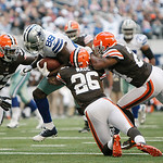 Dallas Cowboys wide receiver Dez Bryant (88) is surrounded by Cleveland Browns cornerback Tashaun Gipson (39), Cleveland Browns cornerback Trevin Wade (26) and Cleveland Browns cornerback Sh &#8230;