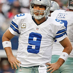 "Dallas Cowboys quarterback Tony Romo (9), wears a ""Salute to Service"" themed captains patch during the first half of an NFL football game against the Cleveland Browns Sunday, Nov. 18, 2012 i …"