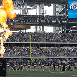 Flames shoot into the air during the Dallas Cowboys player introductions before the start of the first half of an NFL football game  against the Cleveland Browns Sunday, Nov. 18, 2012 in Arl …