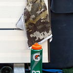 "A Gatorade bottle and a ""Salute to Service"" themed camouflaged towel are seen on the Cleveland Browns sidelines during the first half of an NFL football game against the Dallas Cowboys Sunda …"