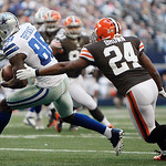 Cleveland Browns cornerback Sheldon Brown (24) chases down Dallas Cowboys wide receiver Dez Bryant (88) during the second half of an NFL football game Sunday, Nov. 18, 2012 in Arlington, Tex …