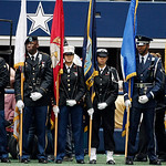 Members the armed services color guard wait to be introduced before the start of the first half of an NFL football game between the Dallas Cowboys and Cleveland Browns Sunday, Nov. 18, 2012  &#8230;