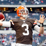 Cleveland Browns quarterback Brandon Weeden (3) throws pass during warmups before the first half of an NFL football game against the Dallas Cowboys Sunday, Nov. 18, 2012 in Arlington, Texas. &#8230;