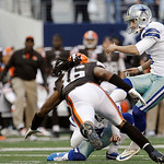 Dallas Cowboys kicker Dan Bailey (5) kicks a field goal as Cleveland Browns wide receiver Josh Cribbs (16) attempts to block the ball during the second half of an NFL football game Sunday, N …