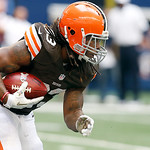 Cleveland Browns running back Trent Richardson (33) looks for room against the Dallas Cowboys defense during the second half of an NFL football game Sunday, Nov. 18, 2012 in Arlington, Texas …