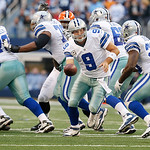 Dallas Cowboys quarterback Tony Romo (9) hands the ball off to Dallas Cowboys running back Felix Jones (28) during the second half of an NFL football game against the Cleveland Browns Sunday …