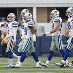 Dallas Cowboys special teams player walk to the sidelines during a timeout during the first half of an NFL football game against the Cleveland Browns Sunday, Nov. 18, 2012 in Arlington, Texa &#8230;