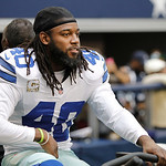 Dallas Cowboys strong safety Danny McCray (40) stays warm on an elliptical  machine during the first half of an NFL football game against the Cleveland Browns Sunday, Nov. 18, 2012 in Arling …