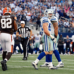 Dallas Cowboys inside linebacker Dan Connor (52) reacts after a play as Cleveland Browns tight end Benjamin Watson (82) looks on during the second half of an NFL football game Sunday, Nov. 1 …