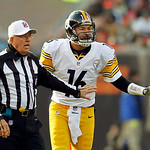 Referee Ron Winter holds back Pittsburgh Steelers quarterback Charlie Batch in the second quarter of an NFL football game against the Cleveland Browns Sunday, Nov. 25, 2012, in Cleveland. (A …
