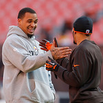 Pittsburgh Steelers center Maurkice Pouncey, left, greets Cleveland Browns defensive back Joe Haden before the Browns play the Steelers in an NFL football game Sunday, Nov. 25, 2012, in Clev …