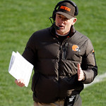 Cleveland Browns head coach Pat Shurmur reacts during an NFL football game against the Pittsburgh Steelers Sunday, Nov. 25, 2012, in Cleveland. (AP Photo/Tony Dejak)