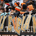 Cleveland Browns fans hope for a win against the Pittsburgh Steelers in the first half of an NFL football game Sunday, Nov. 25, 2012, in Cleveland. Fans got their wish when the Browns beat P …