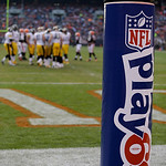 "The NFL ""Play 60' goal wrap frames an football game between the Pittsburgh Steelers and Cleveland Browns Sunday, Nov. 25, 2012, in Cleveland. (AP Photo/Mark Duncan)"