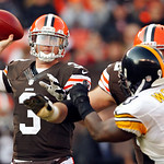 Cleveland Browns quarterback Brandon Weeden (3) passes against the Pittsburgh Steelers in the third quarter of an NFL football game on Sunday, Nov. 25, 2012, in Cleveland. (AP Photo/Ron Schw …