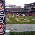 The goalpost is decorated with the NFL Play 60 logo during an NFL football game between the Cleveland Browns and the Pittsburgh Steelers Sunday, Nov. 25, 2012, in Cleveland. (AP Photo/Tony D …