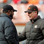 Cleveland Browns head coach Pat Shurmur, right, talks with Pittsburgh Steelers head coach Mike Tomlin before an NFL football game Sunday, Nov. 25, 2012, in Cleveland. (AP Photo/Ron Schwane)