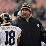 Injured Pittsburgh Steelers quarterback Ben Roethlisberger shakes hands with wide receiver David Gilreath before an NFL football game against the Cleveland Browns Sunday, Nov. 25, 2012, in C …