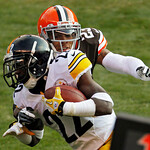 Cleveland Browns cornerback Joe Haden tackles Pittsburgh Steelers running back Chris Rainey in the second quarter of an NFL football game Sunday, Nov. 25, 2012, in Cleveland. (AP Photo/Tony  …
