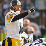 Pittsburgh Steelers quarterback Charlie Batch (16) points during an NFL football game against the Cleveland Browns Sunday, Nov. 25, 2012, in Cleveland. (AP Photo/Tony Dejak)