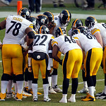 The Pittsburgh Steelers huddle up during an NFL football game against the Cleveland Browns Sunday, Nov. 25, 2012, in Cleveland. (AP Photo/Tony Dejak)