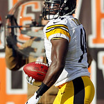 Pittsburgh Steelers linebacker Lawrence Timmons returns in interception for a touchdown against the Cleveland Browns in the first quarter of an NFL football game Sunday, Nov. 25, 2012, in Cl …
