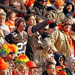 Cleveland Browns fans cheer their team in the first quarter of an NFL football game against the Pittsburgh Steelers Sunday, Nov. 25, 2012, in Cleveland. (AP Photo/Tony Dejak)