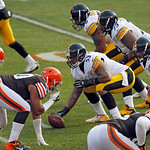 Pittsburgh Steelers center Maurkice Pouncey (53) prepares to snap the ball against the Cleveland Browns in the second quarter of an NFL football game Sunday, Nov. 25, 2012, in Cleveland. (AP …