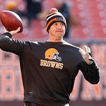 Cleveland Browns quarterback Brandon Weeden (3) warms up before the Browns play the Pittsburgh Steelers in an NFL football game Sunday, Nov. 25, 2012, in Cleveland. (AP Photo/Tony Dejak)