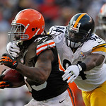 Pittsburgh Steelers linebacker Lawrence Timmons (94) tackles Cleveland Browns running back Trent Richardson in the fourth quarter of an NFL football game won by the Browns 20-14 on Sunday, N …