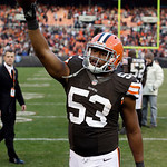 Cleveland Browns linebacker Craig Robertson celebrates after a 20-14 win over the Pittsburgh Steelers in an NFL football game Sunday, Nov. 25, 2012, in Cleveland. (AP Photo/Mark Duncan)