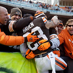 Cleveland Browns cornerback Joe Haden (23) is hugged by fans after a 20-14 win over the Pittsburgh Steelers in an NFL football game on Sunday, Nov. 25, 2012, in Cleveland. (AP Photo/Mark Dun …
