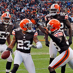 Cleveland Browns cornerback Joe Haden (23) celebrates a fourth quarter interception against the Pittsburgh Steelers with Craig Robertson (53), D'Qwell Jackson (52) and Tashaun Gipson in an N …