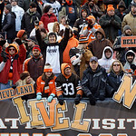 Cleveland Browns fans cheer after a 20-14 win over the Pittsburgh Steelers in an NFL football game Sunday, Nov. 25, 2012, in Cleveland. (AP Photo/Mark Duncan)