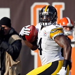 Pittsburgh Steelers linebacker Lawrence Timmons returns an interception for a touchdown against the Cleveland Browns in the first quarter of an NFL football game Sunday, Nov. 25, 2012, in Cl …