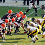 Cleveland Browns center Alex Mack (55) prepares to snap the ball against the Pittsburgh Steelers in the first half of an NFL football game Sunday, Nov. 25, 2012, in Cleveland. (AP Photo/Tony …