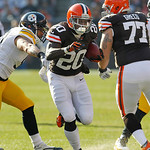 Cleveland Browns running back Montario Hardesty (20) runs the ball against the Pittsburgh Steelers in an NFL football game Sunday, Nov. 25, 2012, in Cleveland. (AP Photo/Tony Dejak)